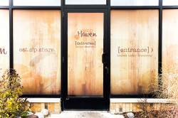 Window graphics designed by Rizzi for Red Haven, printed and installed by Capital Imaging.